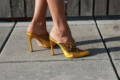 Yellow Embellished Mules