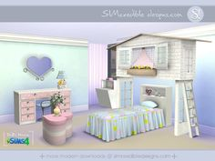 As our girls were missing this set, we recreated it now for sims 4. Most pieces come with 3 color variations ^^ by SIMcredibledesigns.com  Found in TSR Category 'Sims 4 Kids Bedroom Sets'