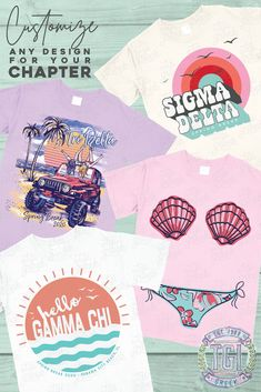 On-time delivery, unsurpassable quality and award-winning designs. Over the past decade, The hottest styles in printed apparel. Sorority Pr, Sorority Banner, Sorority Outfits, Sorority Shirts, Fraternity Shirts, Sorority And Fraternity, Beach Shirts, Custom Tees, Spring Break