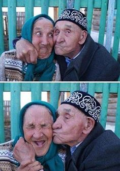 A Russian Couple who have been Married for 65 Years; I am guessing smiling a lot explains their longevity