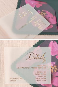 Vellum, Wedding Invitations, Scallop Envelopes, Envelope Liner, Gold Foil Printing, Gold Foil Wedding Invitation, Vellum Details Card, Custom Envelopes and Liners Custom Envelopes, Envelope Liners, Gold Foil, Studios, Wedding Invitations, Printing, Floral, Cards, Photography