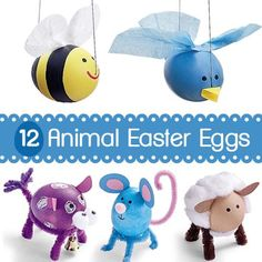 12 ideas for how to design eggs to look like animals.   Great for Easter or anytime of the year!