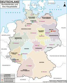 Karte der deutschen Bundeslander und ihrer Hauptstadte