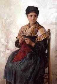 Jules Breton (French Realist Painter, 1827-1906) Young Woman Knitting 1873
