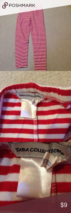 Red and white striped leggings! These are really cute and perfect for layering! They have no holes or stains! They come from a smoke free but pet friendly environment! I ship Monday-Friday. I don't hold or trade. I don't negotiate the price in the comments. I only sell through poshmark. The price is firm. tara collection Bottoms Leggings