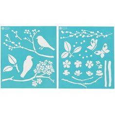 """Martha Stewart Medium Stencils 2 Sheets/pkg, Birds/Berries 8-3/4""""x16-3/4"""", 22 Designs: Crafts : Walmart.com"""