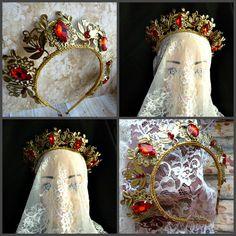 Baroque Red Gold metal Crown christmas wedding tiara headband