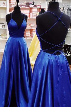 Elegant Yellow Satin Long Prom Dress with Cross Back Royal Blue Prom Dresses, Grad Dresses, Prom Dresses Online, Cheap Prom Dresses, Evening Dresses, Prom Outfits, Ball Dresses, Homecoming Dresses, Ball Gowns
