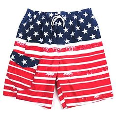 North 15 Mens USA American Flag Swim Trunk Boardshorts with Cargo Pokcet7110Print1Lg *** Click the image to visit the Amazon website