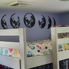 Moon Phases Wall Decal Moon Phase Decor Celestial Wall Art   Etsy Kids Room Wall Stickers, Wall Decals, Wall Art, Tree Design On Wall, Moon Decor, Face Design, Tree Designs, Moon Phases, Interior Walls