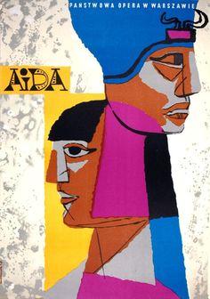 Aida poster by Józef Mroszczak, 1950's.