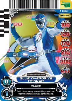 Blue Overdrive Power Ranger trading card