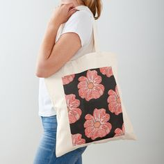 'Contour Flower Design' Tote Bag by iouryRB Printed Tote Bags, Cotton Tote Bags, Reusable Tote Bags, Get Free Stuff, Stuff To Buy, My Bubbles, Iphone Wallet, Sell Your Art, Flower Designs
