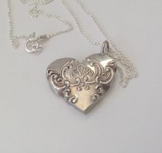 Heart Necklace Spoon Heart Necklace Ornate Heart by GeorginaBaker