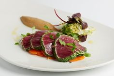 This escabeche of yellowfin tuna, served with aubergine purée, is a glorious, fresh tasting seafood starter recipe from the Galvin brothers. Tuna Marinade, Yellowfin Tuna, Tuna Recipes, Seafood Recipes, Salad Recipes, Great British Chefs, Coriander Seeds, In The Flesh, Tartarus