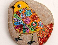 Hand Painted Stone Bird Pendant by ISassiDellAdriatico on Etsy