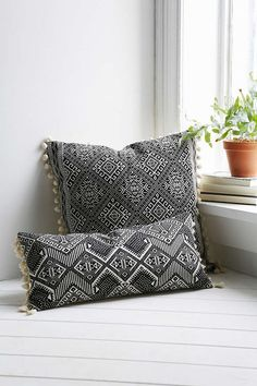 Shop Magical Thinking Black + White Square Pillow at Urban Outfitters today. White Throws, White Throw Pillows, Cushion Covers, Pillow Covers, Magical Thinking, Deco Boheme, Home And Deco, Soft Furnishings, Pillow Design