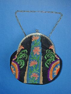 1920s Art Deco petit point embroidered purse by MeMeWorld on Etsy, $54.00