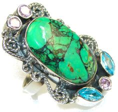 $60.25 Big!! Excellent Copper Turquoise Sterling Silver Ring s. 8 at www.SilverRushStyle.com #ring #handmade #jewelry #silver #turquoise