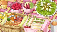 itadakimasu-anime: Picnic lunch: sandwiches, salad, fried chicken, strawberries, and more…. Yum! Mawaru Penguindrum, Episode 4