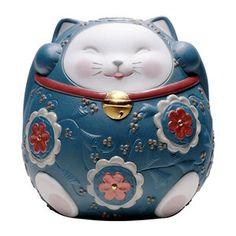 世界中で愛されるポーセリンアート<リヤドロ>より。【招き猫(Blue)】