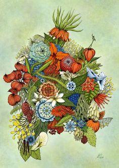 digital art by Michael Löffler New Green, Creative Art, Rooster, Digital Art, Artwork, Painting, Flowers, Creative Artwork, Work Of Art