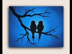 """An acrylic painting demo of Love Birds on 12"""" x 16"""" Canvas. I used light blue, dark blue, and white acrylic paint for the background and black acrylic paint ..."""