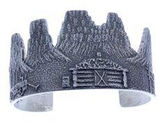 Lee Begay, Monument Valley Outline Bracelet, Navajo Tufa Cast Silver
