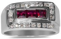 #Jewelry #Ring Diamond with Created Ruby Mens Ring in 10k White Gold