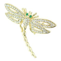 Pugster 22k Golden Plated Dragonfly With Clear White Swarovski Crystal Diamond Accent Animal Brooch Pin Pugster. $22.43. Money-back Satisfaction Guarantee.. Can be pinned on your gown or fastened in your hair with bobby pins.. One free elegant cushioned Gift box available with every order from Pugster.. Occasion: casual wear,anniversary, bridal, cocktail party, wedding. Exquisitely detailed designer style with Swarovski cystal element.