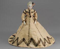 """18"""" Maison Guillard - Black beading on tan silk faille - Carmel Doll Shop - Fashion Dolls-"""