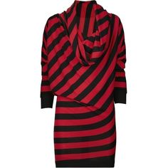 Pre-owned Alexander Mcqueen Red Black Stripe Hoodie Dress ($519) ❤ liked on Polyvore featuring dresses, red black, stripe dresses, cowl neck sweater dress, red sweater dress, polka dot dress and red cocktail dress