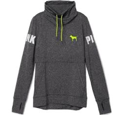 Victoria Secret PINK Ultimate High Neck Pullover S, Grey Marl Neon... ($78) ❤ liked on Polyvore featuring tops, sweaters, sweater pullover, grey pullover, grey sweater, marled pullover sweater and high neck sweater