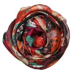 Different Strokes Print Silk Scarf in Orange