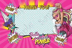 Barbie in Princess Power Thank you card 4x6 Inches