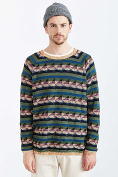 Koto Marled Geo Pattern Crew Neck Sweater
