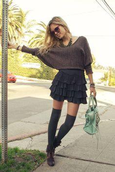 Head Over #Heels, #Socks Overknees Women fashion style clothing outfit skirt black shoes handbag cyan sunglasses necklace bracelet spring summer shawl