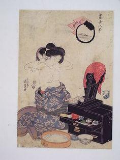 Courtesan Make Up Mirror Japanese Original Woodblock Print Kunisada | eBay