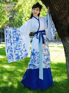 Hanfu for Women | Women's Jacquard cotton Blue-and-white Curved hem dress Wide sleeves ...