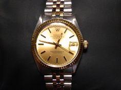 "ROLEX ""Oyster Perpetual Datejust"" 18K Gold + 6827/3 Inox! #Rolex Rolex Oyster Perpetual, Audemars Piguet, Oysters, Gold Watch, Rolex Watches, 18k Gold, Steel, Luxury, Diamond"