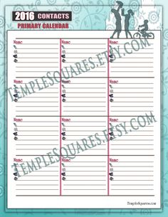 """Printable Primary Presidency 2016 Calendar Planner ADD-ON """"Contacts"""" I Know the Scriptures Are True theme. Family Temple Tree of Life style by templesquares on Etsy"""