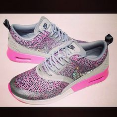purchase cheap bb2ce 952b5 Nike Air Max Thea Print Pink Wolf Grey  White wBling Crystals from