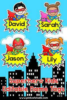 These fun superhero kids name tags and labels will look fantastic in your classroom! Make any labels that you want with the included blank labels and editable PowerPoint file. These would make great bin or basket labels, job cards, flash cards and name tags. By Pink Cat Studio