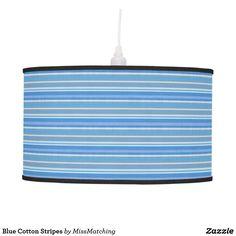 Blue Cotton Stripes Hanging Lamp