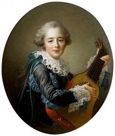 Madame du Barry (dressed as a male musician) Playing the Guitar, 1765 by Francois-Hubert Drouais (1727-1775) (Birmingham Museum of Art)