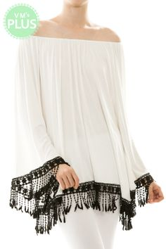 White/Black Fringe Top - #blondellamydean #plussizefashion #plussize #curves