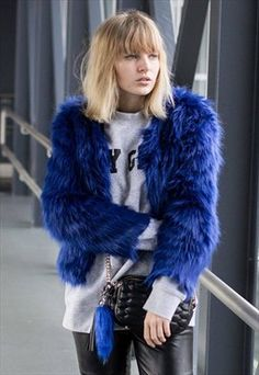 Faux Fur Coat - Blue