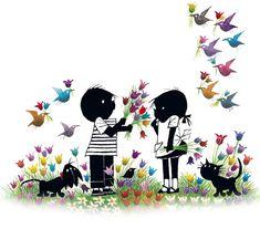 Jip en Janneke met bloemen