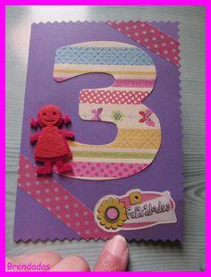 Tarjeta de cumpleaños con número y muñeca #felicitacion