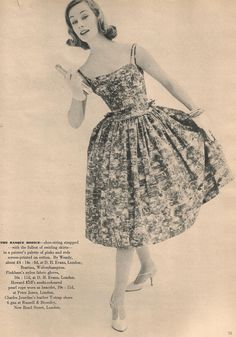 """""""The basque bodice - shoe-string strapped - with the fullest of swirling skirts - in painter's palette of pinks and reds screen-printed on cotton. By Wendy"""". Vanity Fair May 1958"""